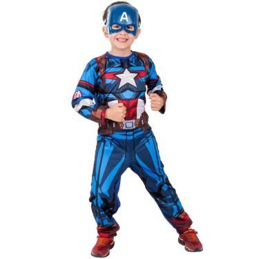 Fantasia Capitão América Clássico Infantil Longo Com Máscara - G 9 - 12