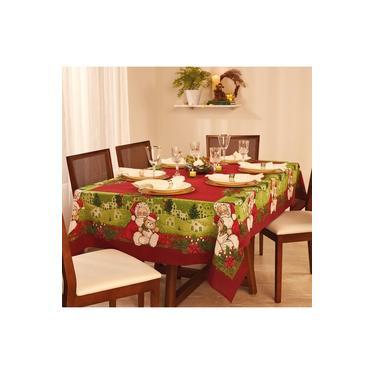 Imagem de Toalha de Mesa Retangular Lepper Natal 8 Lugares 155x250cm Vermelha