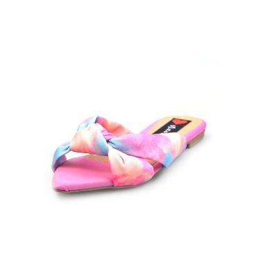 Sandália Rasteira Love Shoes Mule Bico Folha Nó Tie-dye Coral  feminino