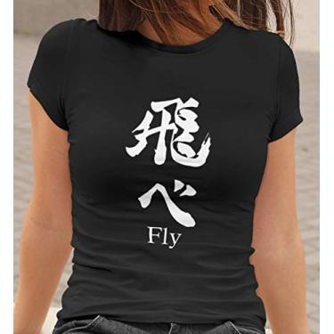 Camiseta Baby Look Haikyuu Fly Feminino Preto Tamanho:GG