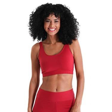 Top Fitness Sem bojo Decote Redondo Supplex II - Vermelho - M
