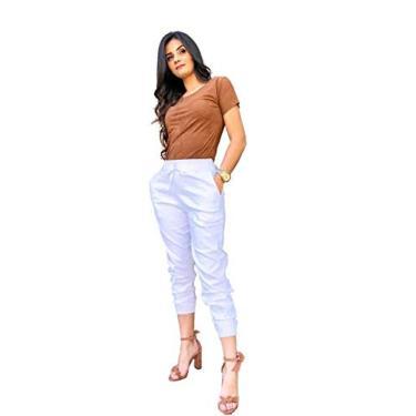 Calça Jogger Feminina Bengaline Varias Cores (Branca, GG)