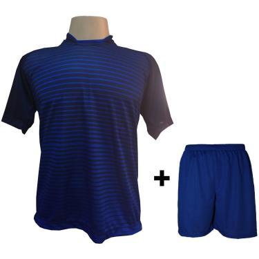 Imagem de Uniforme Esportivo Com 18 Camisas Modelo City Marinho/Royal + 18 Calções Modelo Madrid Royal + Brindes
