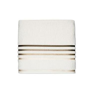 Imagem de Toalha de rosto linha Lumina cor ivory com barra marrom 50x80- Karsten