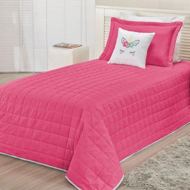 Imagem de Colcha Solteiro Infantil Unicórnio para Meninas 4 Peças Pink