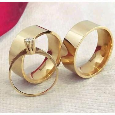 Imagem de Par Alianças Banhada Ouro  18K Noivado Casamento  6mm  tamanho:29-17;size:29-17