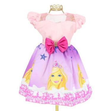 Imagem de Vestido Infantil Tema Barbie Coroa Delicado Laço- Jm11333 - Encantakid