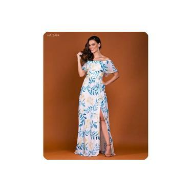 Vestido longo estampado ombro a ombro com fenda - Ref. 2464 folha turquesa