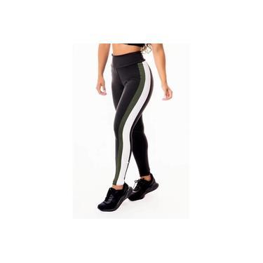 Imagem de Calça Legging Feminina Fitness Academia Preta com Verde Militar e Vivo Branco Cintura Alta