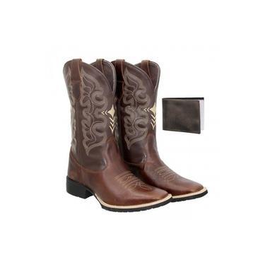 Bota Texana Country Masculina Texas Gold Cruzeta de Couro + Carteira