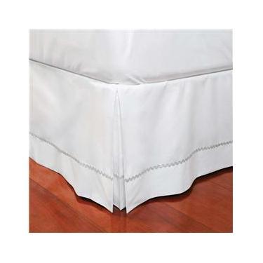 Imagem de Saia para Cama Box Solteiro Plumasul em Percal com Sianinha 180 fios - Branca