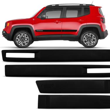 Jogo Friso Lateral Jeep Renegade 2015 a 2020 Preto Modelo Original 4 Portas Ótimo Acabamento
