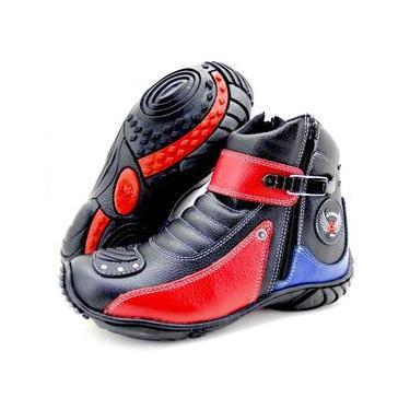 Bota Atron Shoes 271 Preta/Vermelha/Azul
