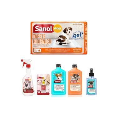 Kit 2 em 1 especial para cães: Tapete higiênico, Stop Dog, Pipi Pode, Shampoo Filhote, Condicionador Neutro e Perfume Baby Sanol