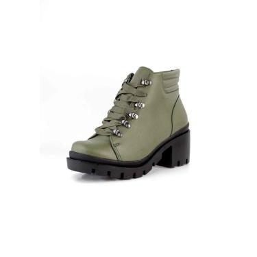 Bota Coturno Tratorado Gorgurão Pele Militar Verde  feminino