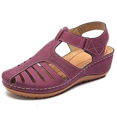 Sandálias de Verão,Baugger Verão Retro Sandálias Femininas Buracos Sapatos Cabeça Redonda Cunha Salto Antiderrapante Sandálias Confortáveis (Roxo 37)