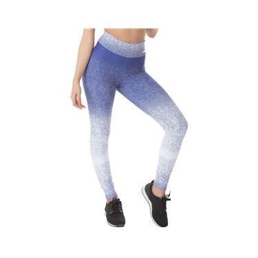 Imagem de Calça Legging Moda Fitness Jacquard Barrado Azul e Branco Poliamida Ref 5013D