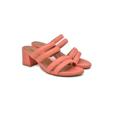 Tamanco Usaflex Feminino Couro Salto Grosso Casual Fashion Coral