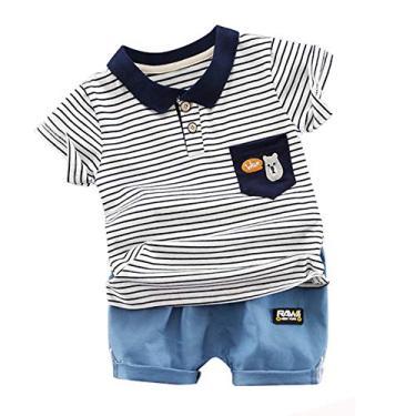 Conjunto de roupas infantis de verão de shorts e camiseta de manga curta com estampa de listras para meninos, bebês