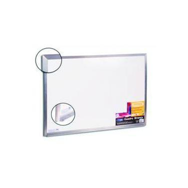 Imagem de Quadro Lousa Branco Recados Mural Avisos Moldura Aluminio 40x30cm Cortiarte