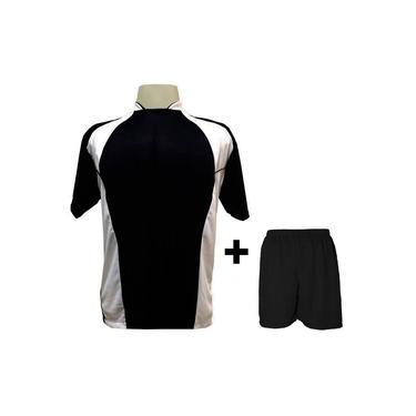 Imagem de Uniforme Esportivo com 14 camisas modelo Suécia Preto/Branco + 14 calções modelo Madrid + 1 Goleiro +