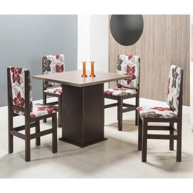 Imagem de Conjunto De Mesa Com 4 Cadeiras Sirius Tabaco E Floral - Zamarchi