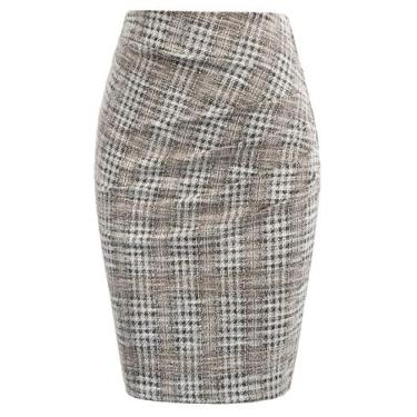 Grace Karin Saia feminina elegante franzida no joelho slim fit executiva, Plaid-2, X-Large