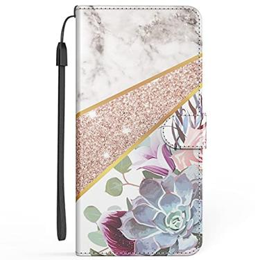 XYX Capa carteira para iPhone SE 2020, capa flip de couro sintético premium com design de mármore para iPhone 6/7/8/SE 2020 de 4,7 polegadas - estampa de flores