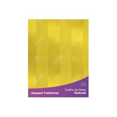 Imagem de Toalha De Mesa Redonda Em Tecido Jacquard Amarelo Ouro Listrado Tradicional