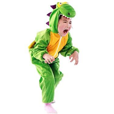 Imagem de Fantasia infantil de dinossauro Amosfun Dino Halloween fantasia festival festa animal cosplay vestido verde