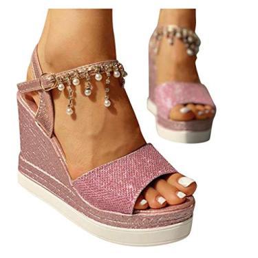 Sandálias Vedolay femininas, sandálias femininas de plataforma casuais com estampa de cobra Espadrille, anabela, bico aberto, sandália de verão, Z9-pink, 7.5