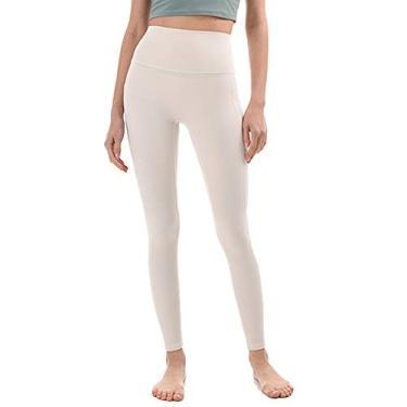 JNVNI Calça legging feminina de ioga de cintura alta com bolsos para controle de barriga, Off-white, S