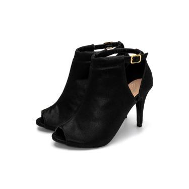 Sandalia Preta Fechada Ankle Boot Julia Andara 01783  feminino