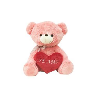 Imagem de Urso Rosa Com Laço Coração Te Amo 45cm - Pelúcia