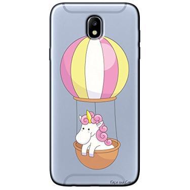 Capa Transparente Personalizada para Samsung Galaxy J7 Pro J730 - Unicórnio no Balão - TP308