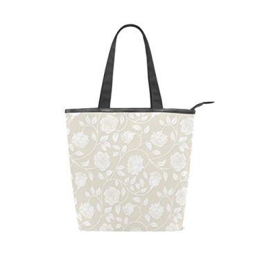 Imagem de Bolsa de mão com alça superior de lona, rosas brancas em bege, bolsa de ombro para mulheres