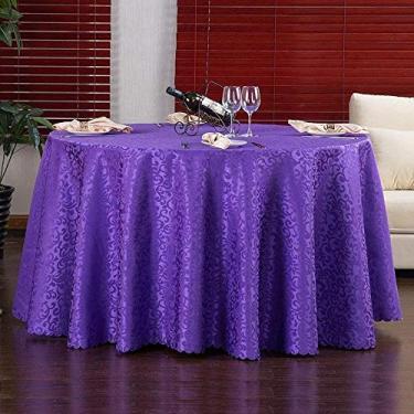 Imagem de Toalha de mesa redonda de tecido Jacquard Toalha de mesa de linho lavável na máquina Toalha de mesa de casamento para festas de restaurante Mesa redonda 200 cm/79 (cor: vermelho escuro) - roxo perfeito