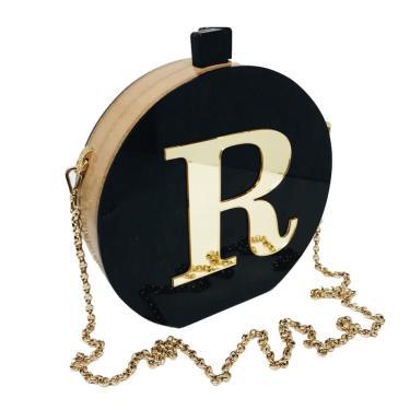 Bolsa Clutch Black Inicial Dourada Personalizada  feminino