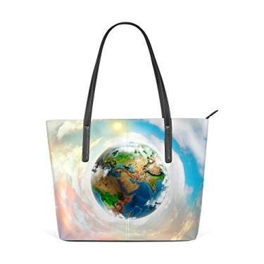 Top Carpenter Bolsa de ombro com alça superior de couro de poliuretano, bolsa mensageiro planeta Terra, para mulheres e meninas