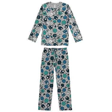 Pijama Manga Longa Juvenil Menino Malwee Liberta Monster Ref. 0077440 Cor:Cinza Claro;Tamanho:16