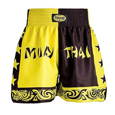 Shorts Boxe Muay Thai Bicolor Amarelo