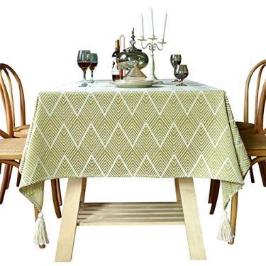 Imagem de Toalha de mesa, toalha de mesa retangular, algodão, linho, bordado, sem rugas, anti-desbotamento, toalha de mesa lavável para cozinha, festa de jantar, retangular/oblongo (cor: amarelo, CH: 55,155 cm)