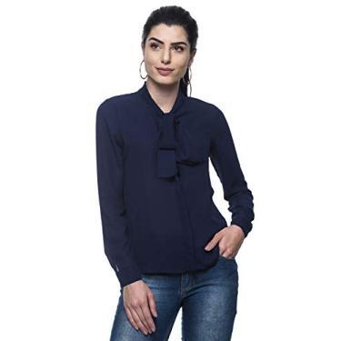 Camisa Intens Manga Longa Crepe Laço Azul (G, Azul)