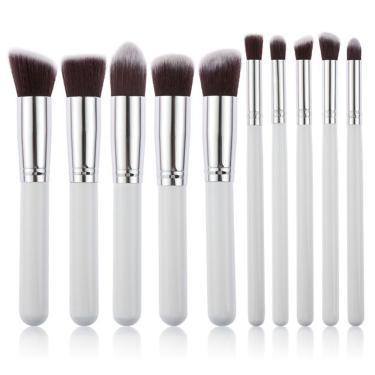 Kit De Pincéis Kabuki Com 10 Pecas Maquiagem Sombra Base