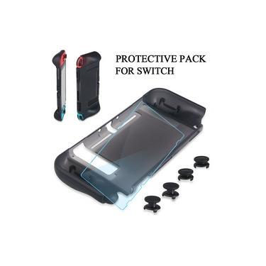 3 em 1 Pacote de Proteção, Capa de Proteção para Jogos + Capa de Thumbstick Kit de Acessórios de Jogo Gamepad Decor Protection para Nintendo Switch Console Controllers