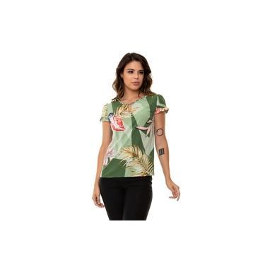 Blusa Kinara Crepe Estampada Gola Trançada Verde