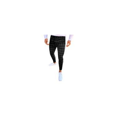 Calças compridas moda masculina casual com estampa xadrez com cordão e cintura elástica