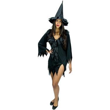 48c817c4e Fantasia de Halloween Bruxa Vixen Feminina Adulta Com Chapéu - M 40 - 42