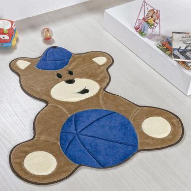 Tapete de Quarto Infantil de Bebê Formato Ursinho Bola Azul