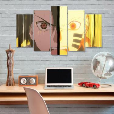 Quadro Mosaico 5 peças mdf 6mm  anime naruto e sasuke